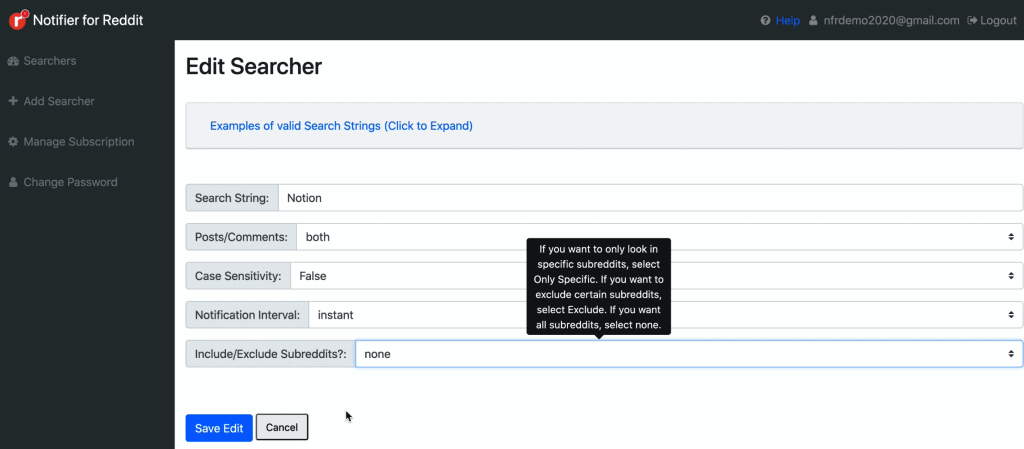 Add Searcher page on Notifier for Reddit dashboard showing how one can make use of Case Sensitivity to get matches of what one is actually searching for
