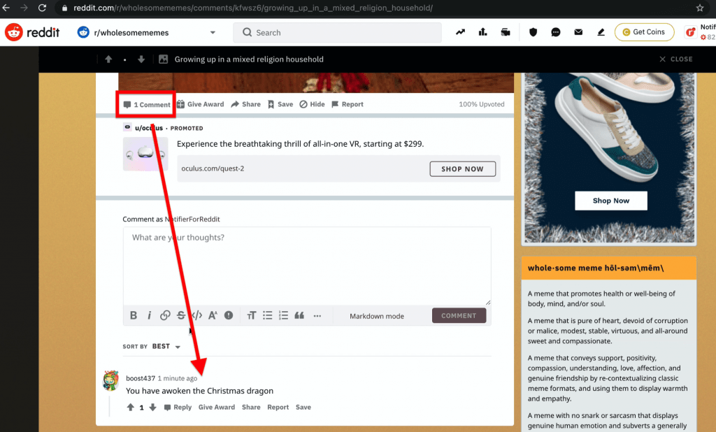 This shows an example of a newest post that someone can comment on first to get upvotes and earn karma points