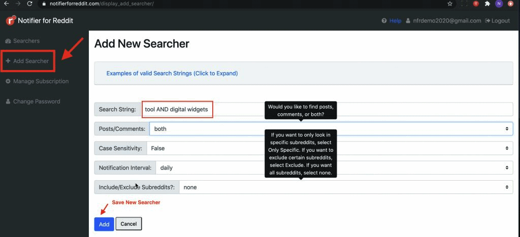Add Searcher page on Notifier for Reddit dashboard where you can add a Searcher and start getting new users for your product/service by leveraging social listening on Reddit