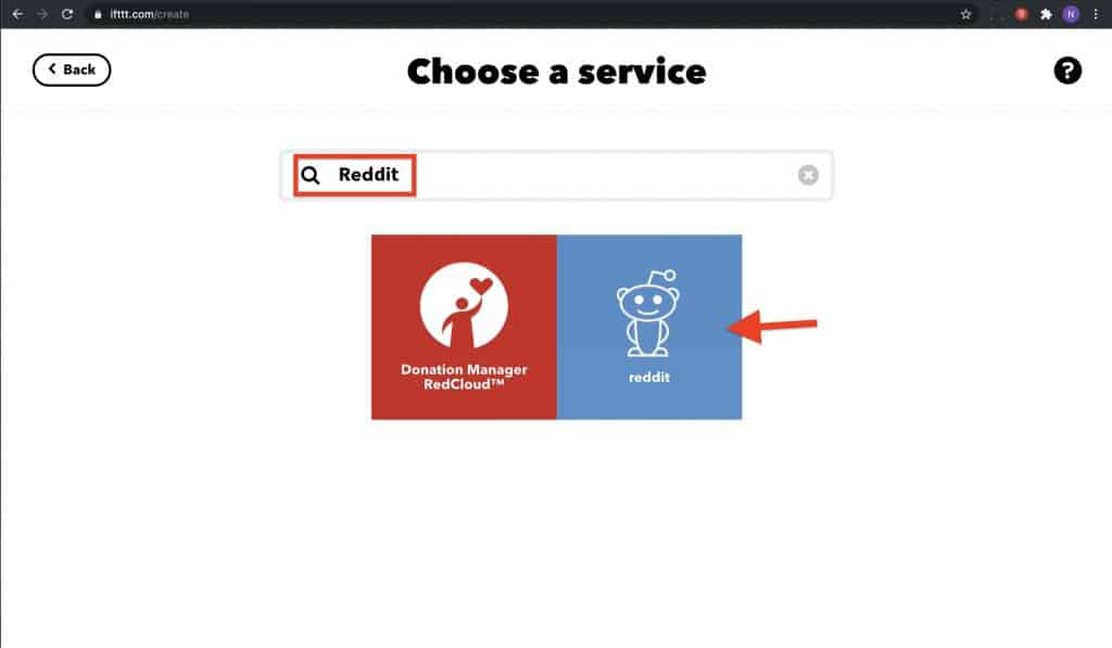 This is the if This interface where you can choose a trigger channel like Reddit
