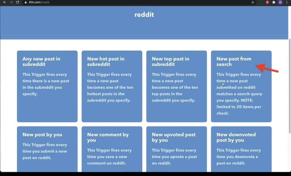 Once you select Reddit, it will bring out Reddit configuration and will provide you list of option to choose a trigger