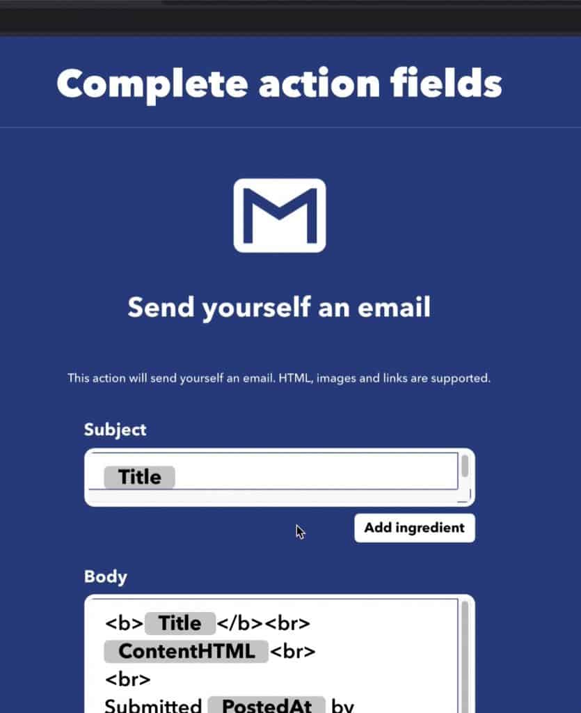 This screen Complete action fields have different options on how yo'd like your email to populate