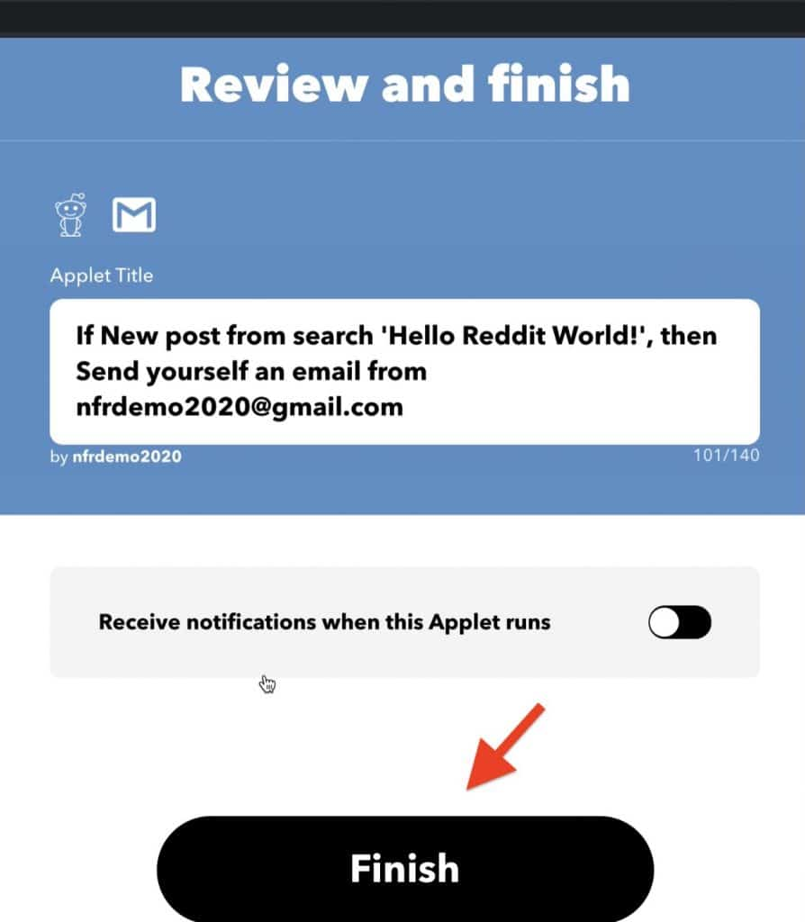 In this interface you can review the Applet you have created and click Finish for the Applet to be connected