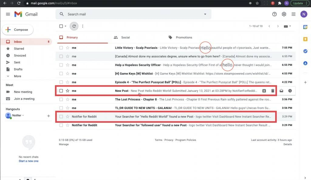 Email inbox in the Gmail dashboard where your received message notification will appear and where you can click the message to view details.