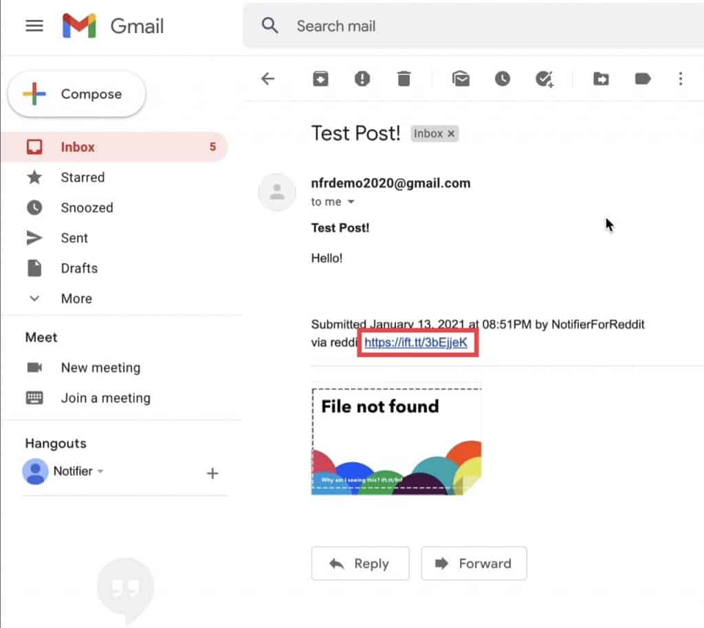 The details of the email notification one will receive whenever a search string has found a match and which also allows an instant click to view the post/comment directly on Reddit