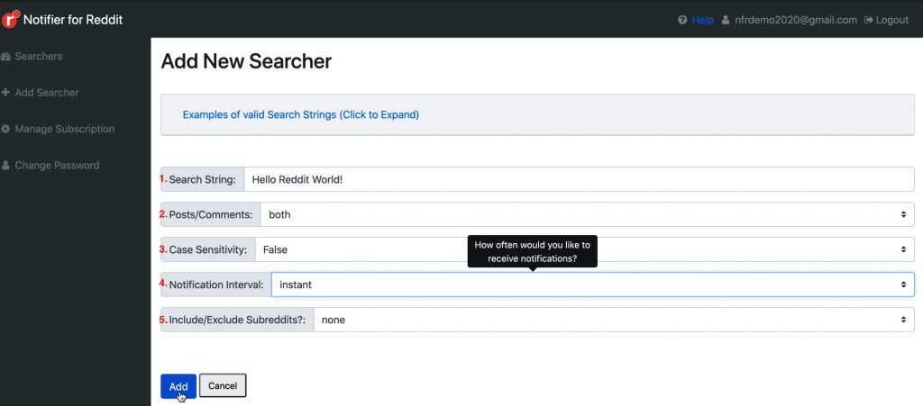 Add Searcher page on Notifier for Reddit dashboard where you can set up a Searcher to get started keeping track of Reddit