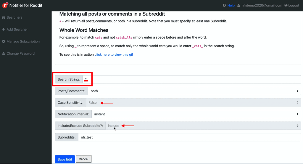 Add Searcher page on Notifier for Reddit dashboard showing how one can make use of * (star) Operator when creating a Searcher to return matches from any posts or comments