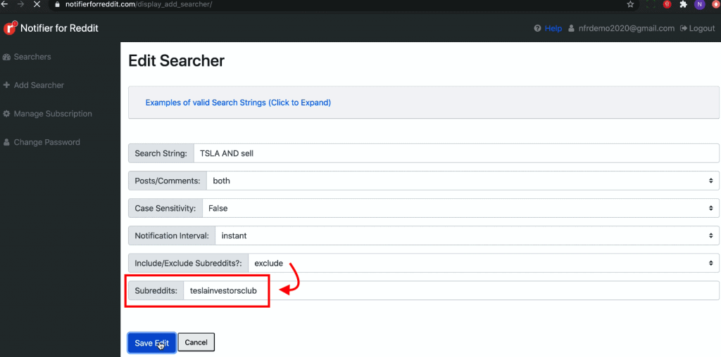 This Edit Searcher page where one can modify the search criteria to narrow down the search and get relevant matches