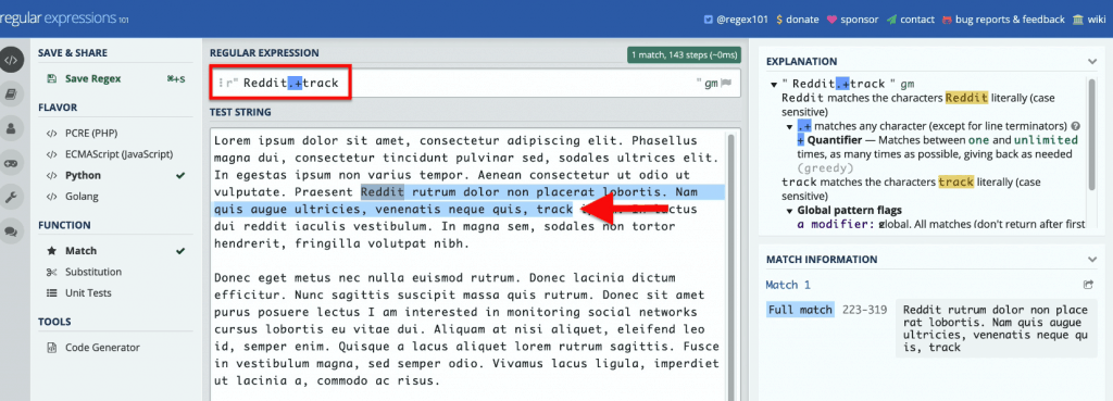regex101.com home page showing how to modify the use plus (+) symbol to narrow down the search as shown in the highlighted text when Reddit.+track was entered